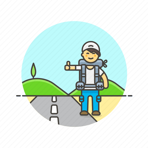car, hitchhike, man, roadtrip, stop, transport, travel, wait icon