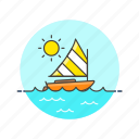 holiday, sailboat, sea, summer, sun, transport, travel, water icon