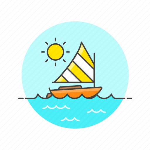 holiday, sailboat, sea, summer, sun, transport, travel, water icon