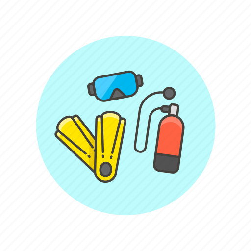 dive, equipment, fin, oxygen, scuba, travel, underwater, vacation icon
