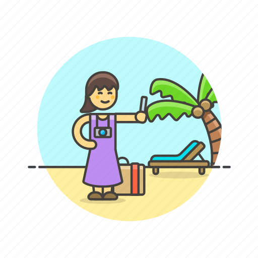 beach, holiday, palm, picture, selfie, travel, vacation, woman icon