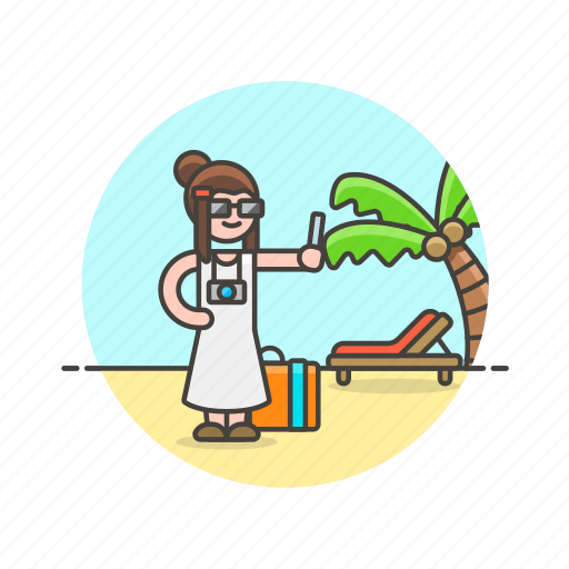 beach, holiday, palm, selfie, summer, travel, vacation, woman icon