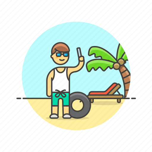 beach, holiday, man, palm, picture, selfie, travel, vacation icon