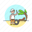 beach, man, palm, picture, selfie, summer, travel, vacation icon