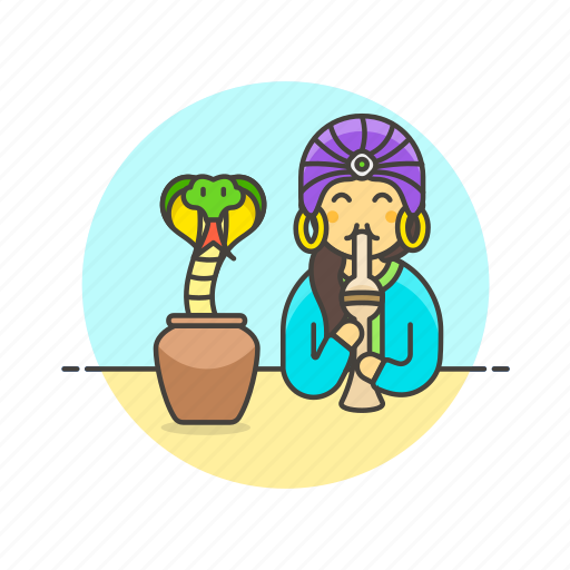 charmer, dance, exotic, flute, music, snake, travel, woman icon