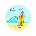 beach, board, holiday, sea, summer, surfing, travel, wave icon