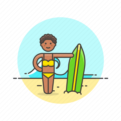 beach, board, sea, summer, surfing, travel, wave, woman icon
