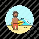 beach, bikini, board, holiday, man, surfing, travel, wave icon