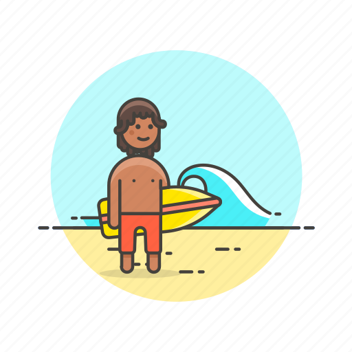beach, bikini, board, holiday, man, surfing, travel, wave icon