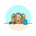 bag, baggage, holiday, luggage, passport, suitcase, travel, vacation icon
