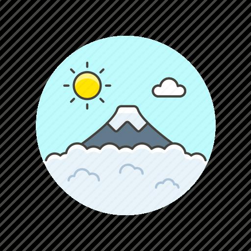 climb, hike, hot, lava, mountain, sun, travel, volcano icon