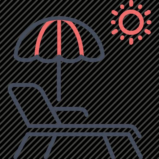beach, sea, summer, sun, umbrella, weather icon