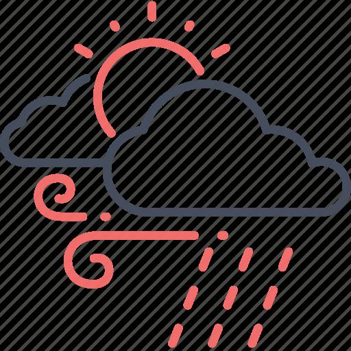 Sun, weather, cloud, rain, air icon