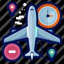 aeroplane, airplane, estimate, time, transportation, travel icon
