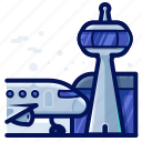 aeroplane, airplane, airport, communication, tower icon