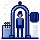 airport, check, man, scan, security, travel icon