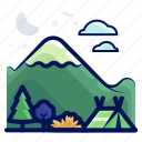 camp, holiday, mountain, travel, vacation icon