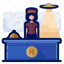 desk, front, hotel, office, reception, receptionist, woman icon