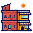 apartment, building, holiday, store, travel, vacation icon