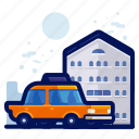 holiday, hostel, hotel, taxi, travel, vacation, vehicle icon