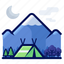 camp, camping, holiday, mountain, tent, travel, vacation icon