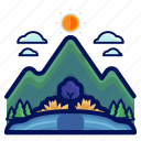 holiday, lake, mountain, travel, vacation icon
