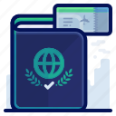 documentation, holiday, identification, passport, travel, vacation icon