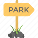 park indication, park road, park sign, park signpost, park way icon