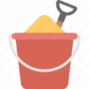 beach bucket, bucket and spade, holiday in, sand bucket, seaside icon