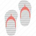 beach sandal, beach slipper, flip flops, slippers, thongs slippers icon
