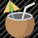 beverage, coconut water, fresh juice, pina colada, tropical drink icon