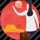 calling cab, hiring taxi, rent a car, transport, traveller icon