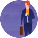 business tour, business travel, tourist, traveller, visitor icon