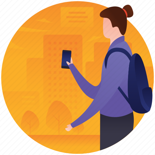 girl using phone, smartphone user, tourist, tourist with phone, travelling icon