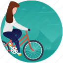 bicycling, cycle race, cycle riding, girl on cycle, riding icon