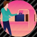 luggage boarding, luggage checking, luggage monitoring, travel luggage, traveller icon