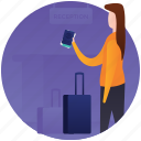 passport, ready to go, tourist, travel, travel luggage, travelling equipments icon