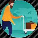 luggage boarding, luggage monitoring, luggage trolley, travel luggage, traveller icon