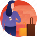 female tourist, girl on picnic, picnic, travel gadgets, traveller, visitor icon