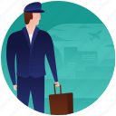 business tour, tourist, traveler, traveling bags, travelling luggage, waiting lounge icon