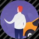hiring cab, hiring taxi, rent a car, transport, traveller icon