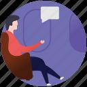 chatting, conversation, flight gossips, gossips, travel chat icon