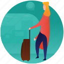 female tourist, girl with luggage, tourist, waiting area, waiting with luggage icon