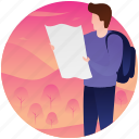 finding travel place, map navigation, reading map, tourist, travel, travel location icon