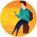 finding location, picnic, smartphone user, tourist, travel place, using phone icon