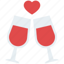 beer glasses, beverages, love cheers, party drink, valentine day icon
