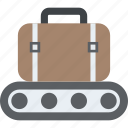 baggage conveyor, conveyor belt, luggage scanner, terminal conveyor, transport safety icon