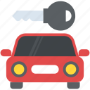 car with key, conveyance, transport, transportation, travelling icon