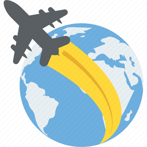 By air travel, foreign travel, global travelling, international flight, world tour icon