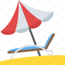 beach tour, summer holiday, sunbath, umbrella and lounger, vacation travelling icon